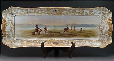 C1890 French C. Haviland Limoges Porcelain Large Serving Platter w/ Clam Diggers