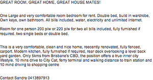 Room for rent close to city, Norman Park bills included Norman Park Brisbane South East Preview