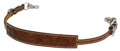 Floral Flowers Tooled Medium Leather Wither Strap Barrel Racing 2 Trigger Snaps