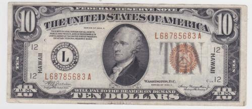 1934 10 Dollar Bill Ebay