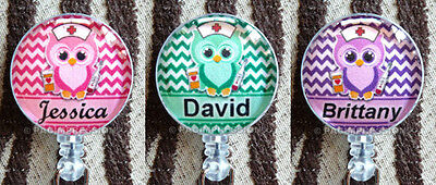 Personalized Badge Reel ID Nurse Owl Retractable Name Holder Pink Green Purple