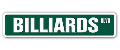 BILLIARDS Street Sign foosball pool cue pooltable darts table parlor player gift