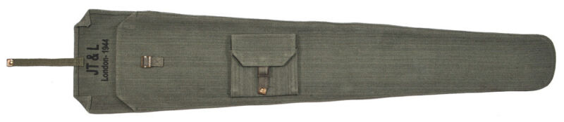 """British Lee Enfield OD Canvas Rifle Case MARKED """"JT&L London 1944"""""""