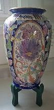 Vintage Chinese Hand Painted Porcelain Vase with Raised Beads