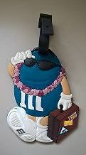 Blue M&M Chocolate Candy with Suitcase Luggage Tag