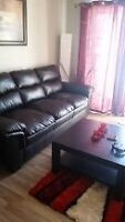 Dark Brown Leather Couch, Chair, Coffee Table & 2 End Tables