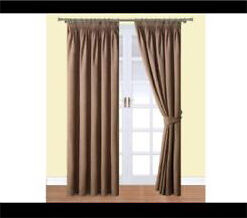 Curtains coffee colour fully lined 90x90