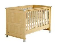 Mamas & papas Modensa cot/toddler bed , toy box & dresser/drawers