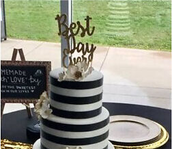 "Gold Glitter Wedding Cake Topper ""Best Day Ever"" Kawartha Lakes Peterborough Area image 1"