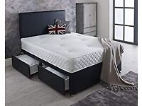 EXPRESS DELIVERY- DOUBLE DIVAN BED BASE INCLUDING MATTRESS (Headboard Optional)