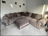 dark grey corner sofa 3 seater by 2 seater including large footstool