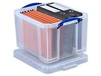 35 Litre Really Useful Clear Hard Plastic Storage Box With Lid.