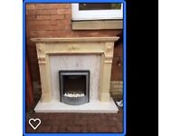 Fire surround/Mantlepiece with marble back plate and hearth
