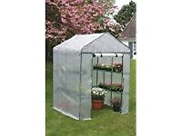 X LARGE 214cmD x143w x195h Walk In Greenhouse With 18 Shelf Staging