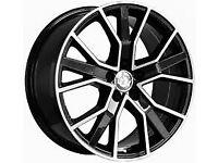 "22"" RS6D (Black/Polished) STYLE ALLOY WHEELS & TYRES TO SUIT AUDI Q5,Q7 MODELS ETC"
