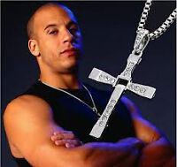 Chaîne Hommes pendentif croix en cristal en alliage.