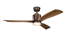 New Kichler Ceiling Fan - Ridley - Oil brushed bronze and walnut