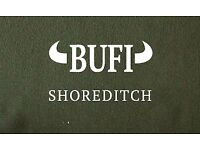 Experienced Part Time Waitress, BUFI Pizzeria, Shoreditch