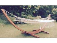Wooden double garden hammock