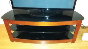TV stand (black glass with wooden frame)