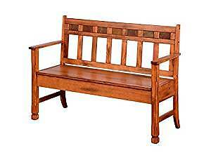 Bench - Rustic Oak Finish Deacons Bench with Storage - Exc.Cond.