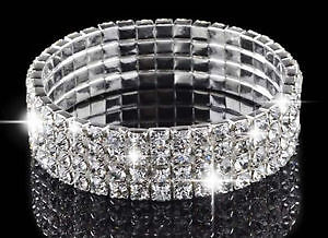 Mariée cristal blanc Diamante strass Stretch.