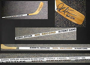 Darryl Sittler NHL Record 10 Point Game (1976) Signed Stick