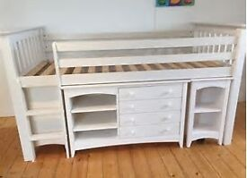 Cabin sleep station in solid pine, with stone white finish.