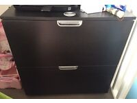 Black Ikea Galant File Cabinet with Lock