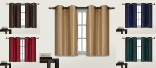 2 Grommet Panel Lined Blackout tiers window curtain for any