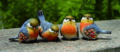 Mini Resin Blue Bird Figurines Set of ...
