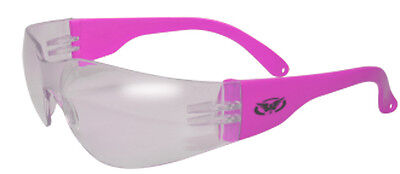 Pro Grade Very Durable ANSI Z87  Womens Neon Hot Pink Safety Glasses Clear (Hot Pink Safety Glasses)