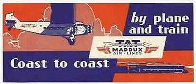 Tat  Maddux  Airways   Vintage Looking   Airline  Sticker Decal Luggage Label