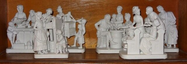 COMPLETE SET OF 6 JOHN ROGERS GROUP STATUE REED AND BARTON PARIAN FIGURES - $365.00