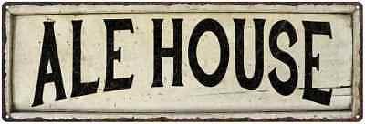 ALE HOUSE Farmhouse Style Wood Look Sign Gift   Metal Decor (Farmhouse Ale)