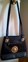 Vintage Versace Black Leather Handbag