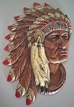 Durwood American Indian Chief Head Wall Hanger