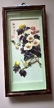 Vintage Mother of Pearl Flowers and Birds Shadow Box Picture