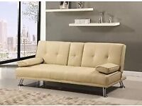 Brand New Fabric Beige/Cream 3 Seater Sofa Bed With Two Cup Holders (FREE LOCAL DELIVERY!!!!)