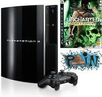 Playstation 3 160G Uncharted bundle W/PS Move,camera,16games