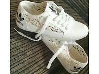White Adidas Shoes Size 4