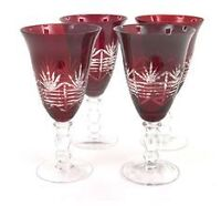 LF Red Etched Water and Wine Goblets from Bombay
