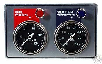 NEW RACING 2 GAUGE PANEL,OIL PRESSURE,WATER TEMPERATURE