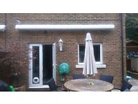 4.5M Electric full cassette awning by MarkiLux with shade plus dropdown, wind sensor and remote
