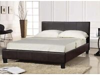 Double faux leather bed and memory foam mattress