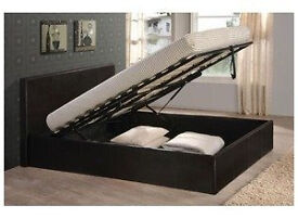 Double, storage, ottoman, hydraulic lift leather bed, both, with Comfortable mattress.