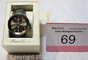 KENNETH COLE model # KC 3842 all stainless steel watch. Box etc.