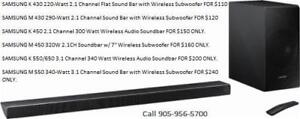 SAMSUNG SOUNDBAR, SAOUND BAR WITH WIRELESS SUB WOOFER *ALL MODELS AVAILABLE*