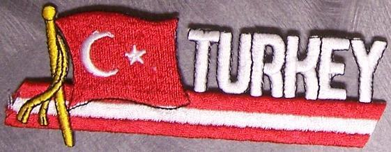 Embroidered International Patch National Flag of Turkey NEW streamer