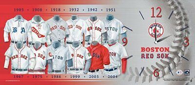 Boston Red Sox Clock showing Team Evolution Uniform History Boston Red Sox Uniform
